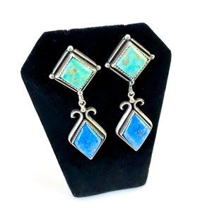 2-Color Turquoise Native American Earrings